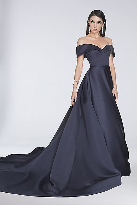 Off-the-Shoulder Satin Ball Gown with Train | David\'s Bridal