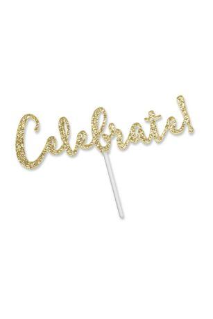 Celebrate Gold Glitter Acrylic Cake Topper