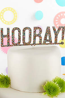 Hooray Multi Color Glitter Acrylic Cake Topper