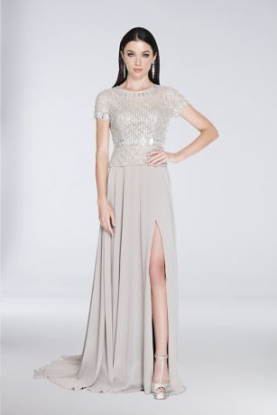 Long A-Line Short Sleeves Dress - Terani Couture