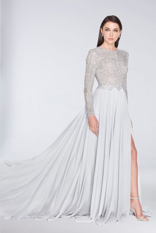 Long A-Line Long Sleeves Dress - Terani Couture