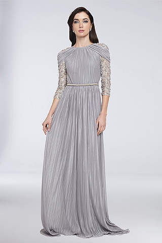Long A Line 3/4 Sleeves Formal Dresses Dress   Terani Couture