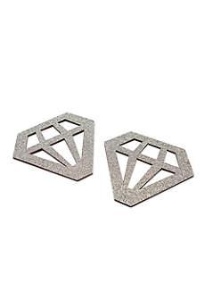 Silver Glitter Diamond Shaped Coasters Set of 24