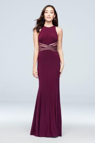 Jersey Sheath Dress with Crossed Illusion Waist