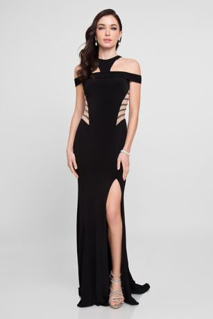 Long Sheath Off the Shoulder Dress - Terani Couture