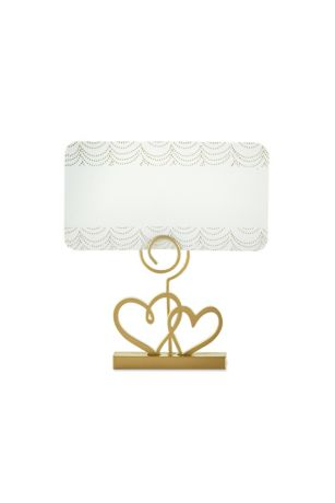 Gold Double Heart Place Card Holder Set of 12