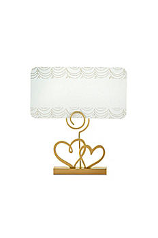 Gold Double Heart Place Card Holder Set of 12 18168GD
