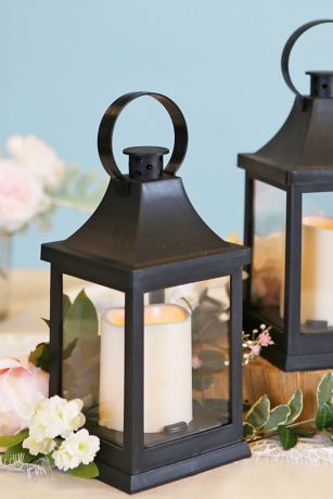 Vintage Decorative LED Black Lantern Set