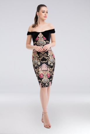 Short Sheath Off the Shoulder Dress - Terani Couture