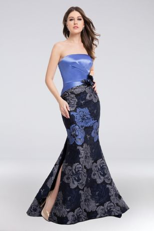 Long Mermaid/ Trumpet Strapless Dress - Terani Couture