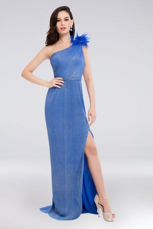 Long Sheath One Shoulder Dress - Terani Couture