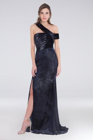 Long Sheath One Shoulder Dress - Terani Couture