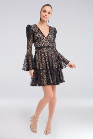 Short A-Line Long Sleeves Dress - Terani Couture