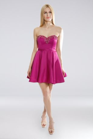 Short A-Line Strapless Dress - Terani Couture