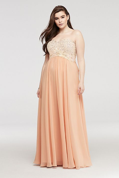Strapless Chiffon Sweetheart Neckline Prom Dress | David\'s Bridal