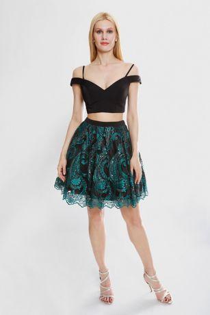 Short A-Line Off the Shoulder Dress - Terani Couture