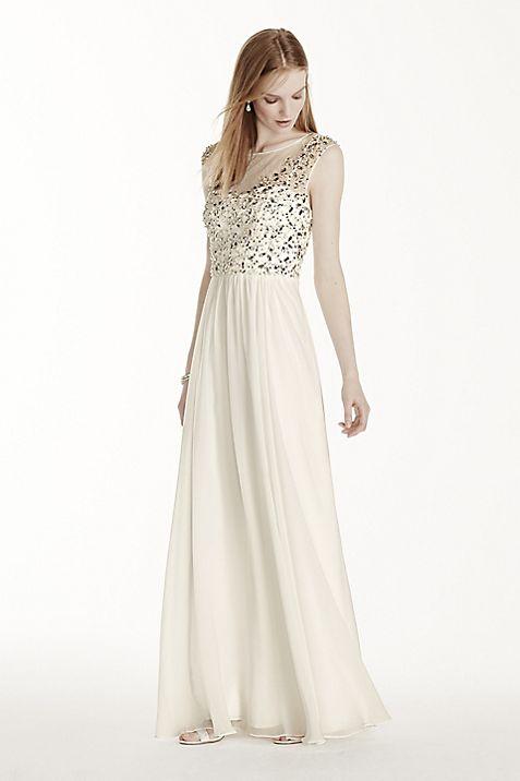 87fa36aaf0b Illusion Neckline Crystal Bodice Chiffon Dress