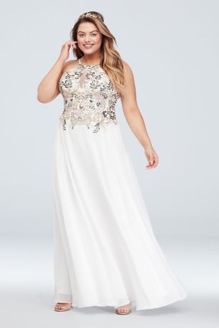 d31d250c2676c Floral Plus Size Gown with Keyhole Chiffon Skirt