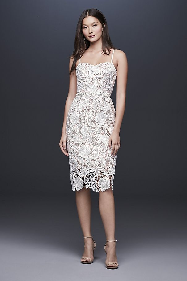 Paisley Lace Illusion Sheath Dress with Sheer Hem 184146DB