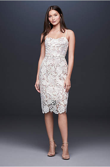 Paisley Lace Illusion Sheath Dress with Sheer Hem