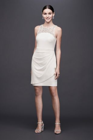 Ruched Jersey Short Dress with Beaded Neckline