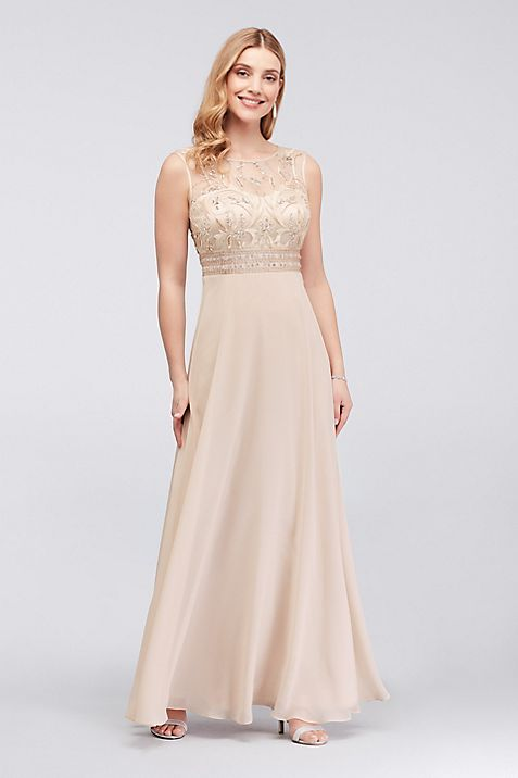 Beaded Chiffon Sheath Dress with Illusion Mesh | David\'s Bridal
