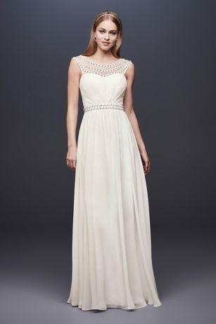 Beaded Sheath Wedding Dress with Illusion Mesh