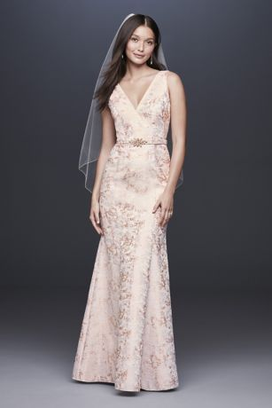 V-Neck Jacquard Mermaid Gown with Beaded Waist