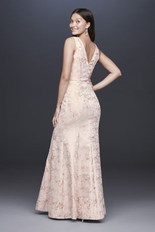 V Neck Jacquard Mermaid Gown With Beaded Waist David S
