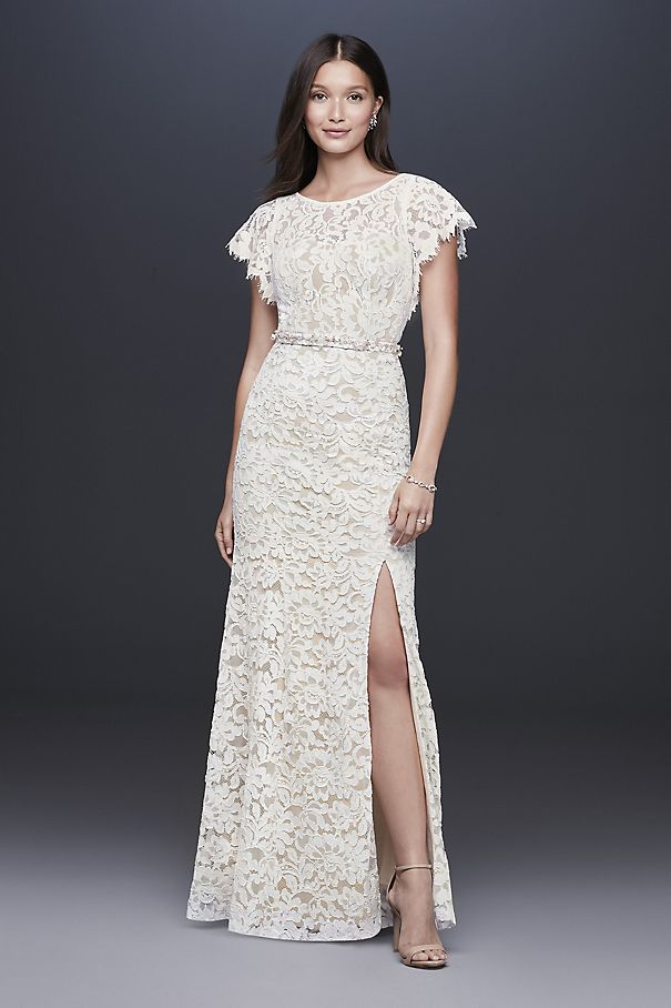 Flutter Sleeve Illusion Lace Sheath Gown 184676DB
