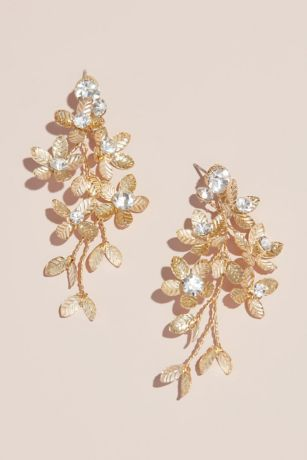 Floral Spray Earrings with Crystals