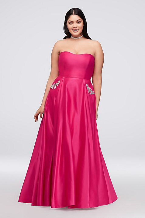 Satin Plus Size Ball Gown with Crystal Pockets | David\'s Bridal