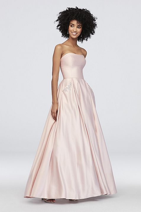 c298c95f059ce Satin Sweetheart Ball Gown with Crystal Pockets | David's Bridal
