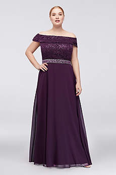 Off-the-Shoulder Lace Chiffon Plus Size Gown