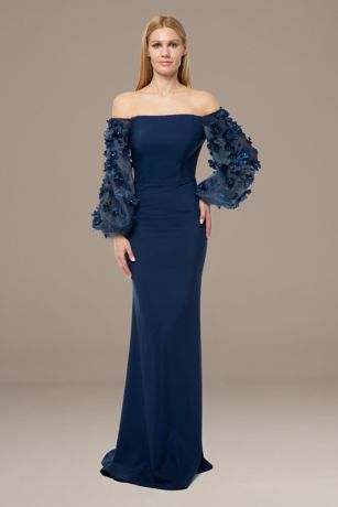 Long Long Sleeves Dress - Terani Couture