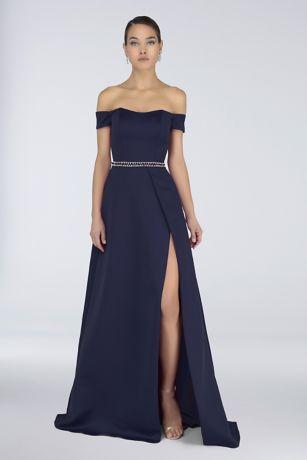 Long A-Line Off the Shoulder Dress - Terani Couture
