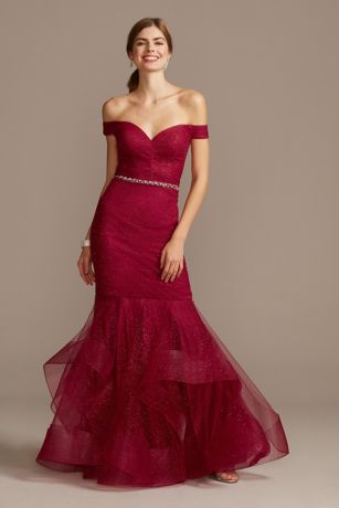 Off Shoulder Glitter Mesh Gown with Horsehair Trim