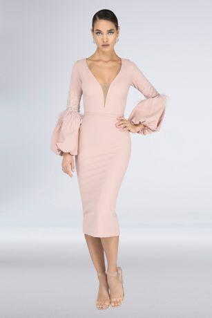 Tea Length Sheath Long Sleeves Dress - Terani Couture
