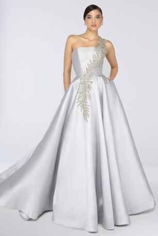 Long Ballgown One Shoulder Dress - Terani Couture