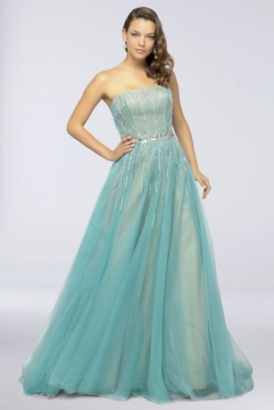 Long Ballgown Strapless Dress - Terani Couture