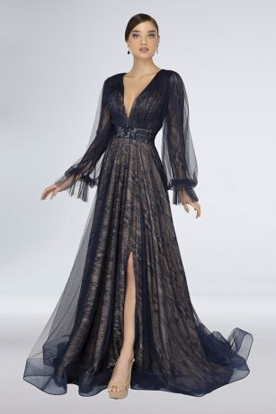 Long Ballgown Long Sleeves Dress - Terani Couture