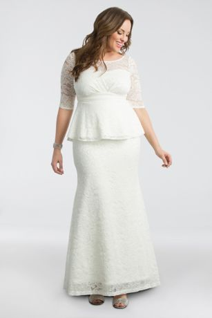 Poised Peplum Plus Size Wedding Gown | David\'s Bridal