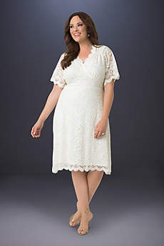 Tea Length A-Line Short Sleeves Dress - Kiyonna