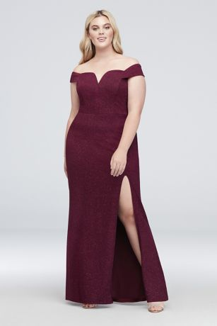 V-Wire Off-The-Shoulder Glitter Plus Size Gown