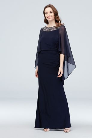 Long Sheath Capelet Dress - Xscape