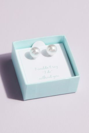 Say I Do Pearl Stud Earrings with Gift Box