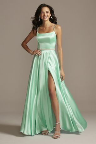 Satin Double Spaghetti Strap Crystal Belt Dress