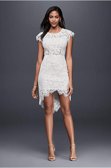 Short cap sleeve lace sheath dress with high-low hem
