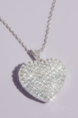 Crystal Embellished Heart Locket Pendant Necklace