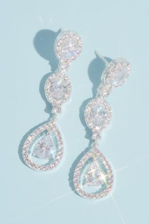 Cubic Zirconia Halo Triple Teardrop Earrings